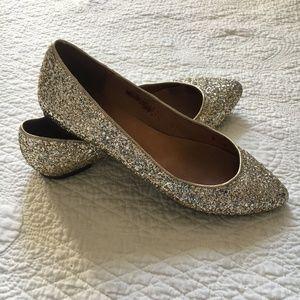 Madewell Sidewalk Skimmer Flat Shoe Glitter Gold 7